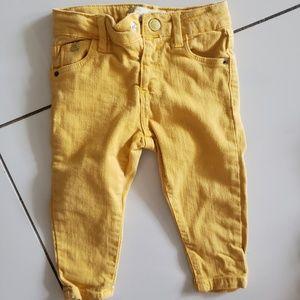 ZARA Baby Girl Jeans Mustard Color